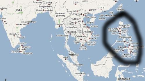 На картата се вижда колко далеч от България са Филипините - чак под Югоизточна Азия.